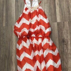 Orange and white chevron dress, small, EUC